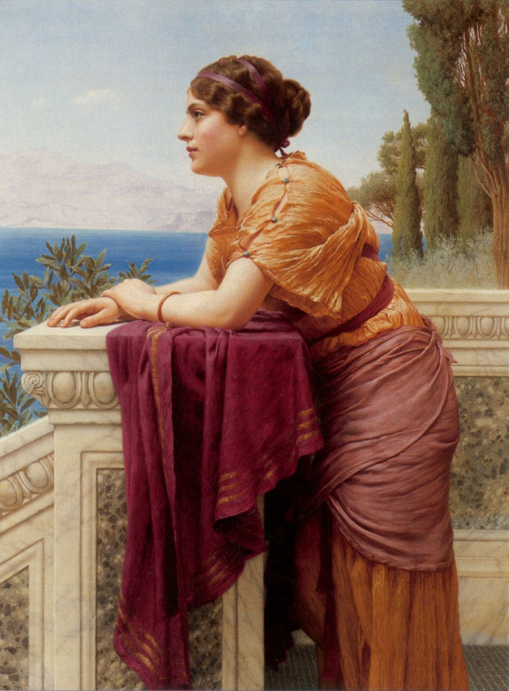 100% Hand Painted Oil on Canvas - Godward - The belvedere