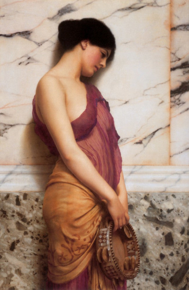 100% Hand Painted Oil on Canvas - Godward - The tambourine girl