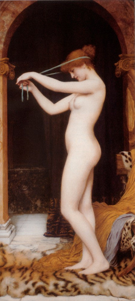 100% Hand Painted Oil on Canvas - Godward - Venus Binding Her Hair