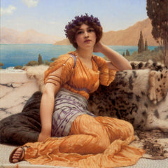 100% Hand Painted Oil on Canvas - Godward - With Violets Wreathed and Robe of Saffron Hue
