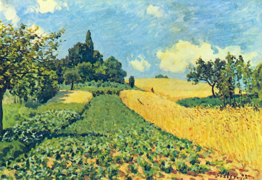 100% Hand Painted Oil on Canvas - Grain fields on the hills of Argenteuil by Sisley