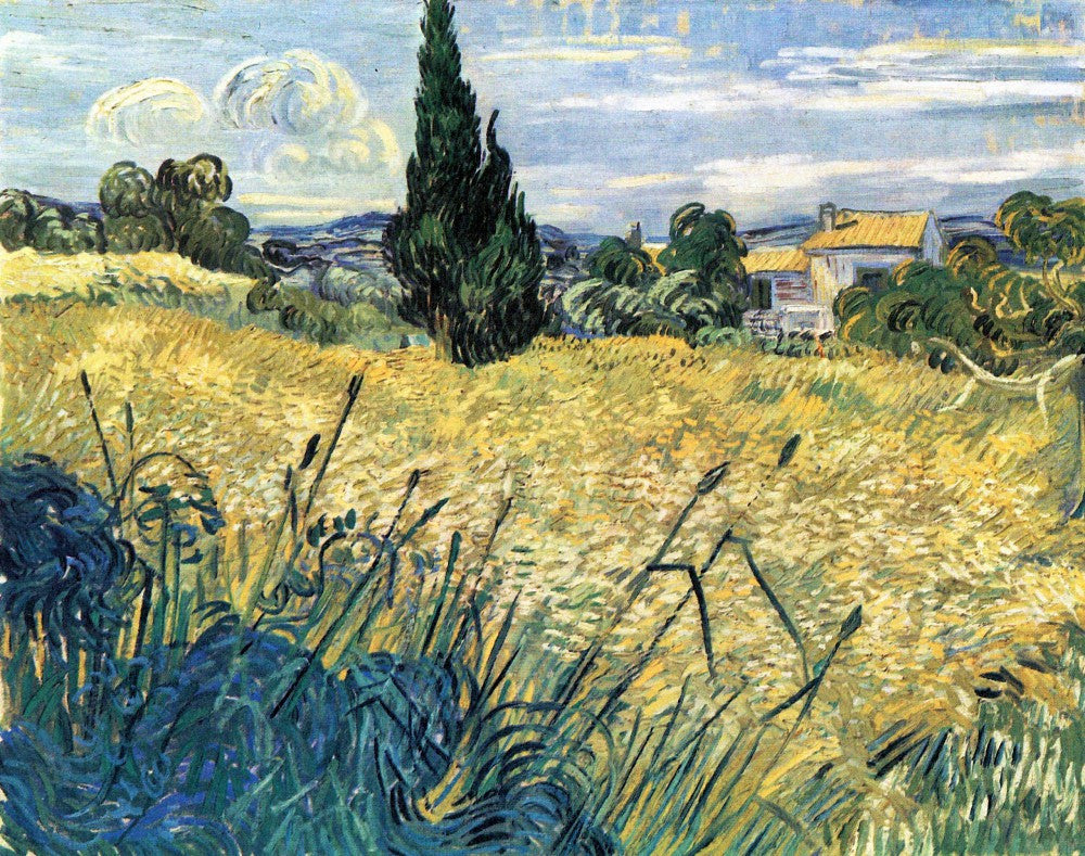 The Museum Outlet - Green wheat field with cypress by Van Gogh
