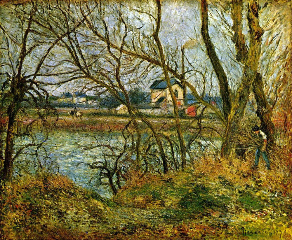 100% Hand Painted Oil on Canvas - Grey day on the banks of the Oise at Pontoise by Pissarro