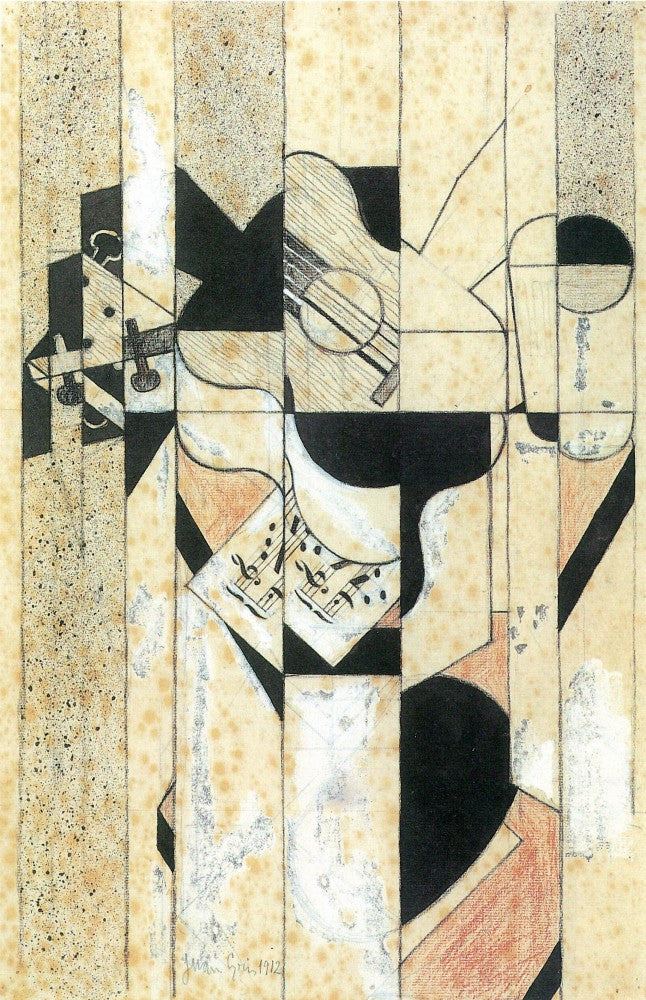 100% Hand Painted Oil on Canvas - Guitar and glass by Juan Gris