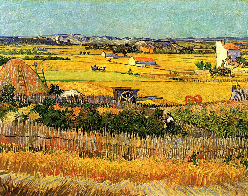 The Museum Outlet - Harvest at La Crau with Montmajour in the Background