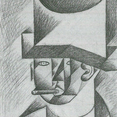 100% Hand Painted Oil on Canvas - Head of a man with cigar by Juan Gris