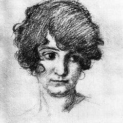 The Museum Outlet - Head of the daughter of the artist, Lorli  by Albin Egger-Lienz