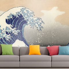 Roshni Arts - Curated Art Wall Mural - Hokusai - A big wave off Kanagawa | Self-Adhesive Vinyl Furnishings Decor Wall Art
