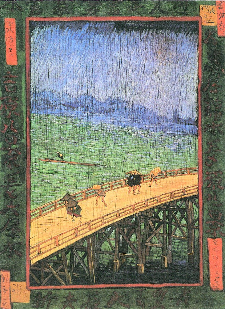 The Museum Outlet - Japanese Bridge in the Rain (after Hiroshige) by Van Gogh