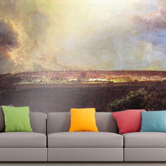 Roshni Arts - Curated Art Wall Mural - Jerusalem from the Mount of Olives by Frederick Edwin Church | Self-Adhesive Vinyl Furnishings Decor Wall Art