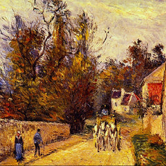 100% Hand Painted Oil on Canvas - La Diligence, Route d'Ennery by Pissarro