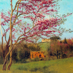 100% Hand Painted Oil on Canvas - Landscape Blossoming Red Almond study by Godward