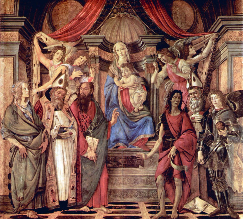 The Museum Outlet - Madonna throne of angels and saints by Botticelli