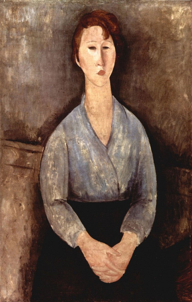 The Museum Outlet - Modigliani - Sitting woman with blue blouse
