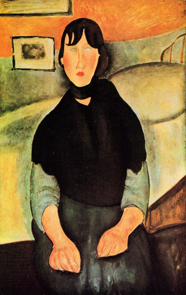 The Museum Outlet - Modigliani - Young brown woman sitting on a bed