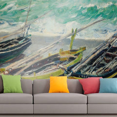 Roshni Arts - Curated Art Wall Mural - Monet - Three Fishing Boats | Self-Adhesive Vinyl Furnishings Decor Wall Art