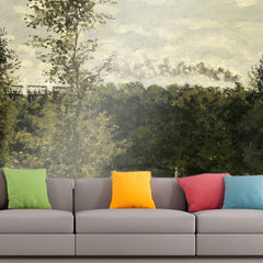 Roshni Arts - Curated Art Wall Mural - Monet - Train in the Countryside | Self-Adhesive Vinyl Furnishings Decor Wall Art