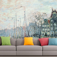 Roshni Arts - Curated Art Wall Mural - Monet - View of the Kromme Waal in Amsterdam | Self-Adhesive Vinyl Furnishings Decor Wall Art