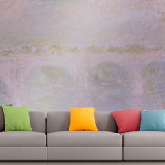 Roshni Arts - Curated Art Wall Mural - Monet - Waterloo Bridge in London | Self-Adhesive Vinyl Furnishings Decor Wall Art