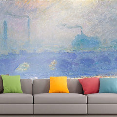 Roshni Arts - Curated Art Wall Mural - Monet - Waterloo Bridge | Self-Adhesive Vinyl Furnishings Decor Wall Art