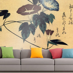 Roshni Arts - Curated Art Wall Mural - Morning glory by Hiroshige | Self-Adhesive Vinyl Furnishings Decor Wall Art