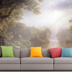 Roshni Arts - Curated Art Wall Mural - Morning in the tropics by Frederick Edwin Church | Self-Adhesive Vinyl Furnishings Decor Wall Art