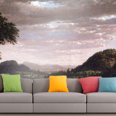 Roshni Arts - Curated Art Wall Mural - New England Landscape by Frederick Edwin Church | Self-Adhesive Vinyl Furnishings Decor Wall Art