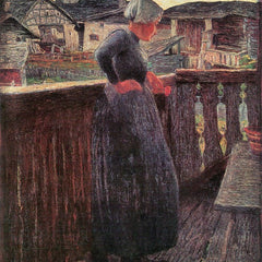 100% Hand Painted Oil on Canvas - On the balcony by Giovanni Segantini