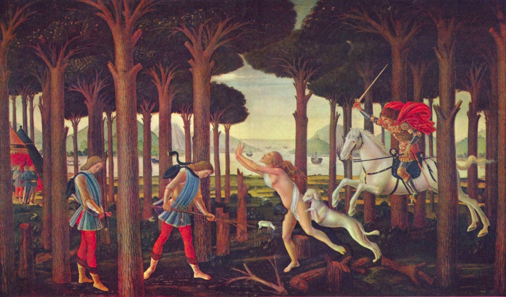 The Museum Outlet - Paintings on Boccaccio's Decameron First episode by Botticelli