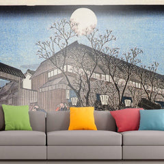 Roshni Arts - Curated Art Wall Mural - People walking under cherry trees at night by Hiroshige | Self-Adhesive Vinyl Furnishings Decor Wall Art