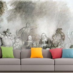 Roshni Arts - Curated Art Wall Mural - Peter Stuyvesant to a dance event by Asher Brown Durand | Self-Adhesive Vinyl Furnishings Decor Wall Art