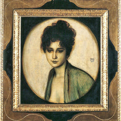100% Hand Painted Oil on Canvas - Portrait of Mrs. Feez by Franz von Stuck