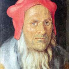 The Museum Outlet - Portrait of a bearded man with red cap by Durer