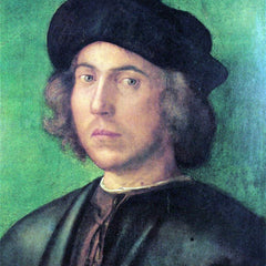 The Museum Outlet - Portrait of a young man against a green background by Durer
