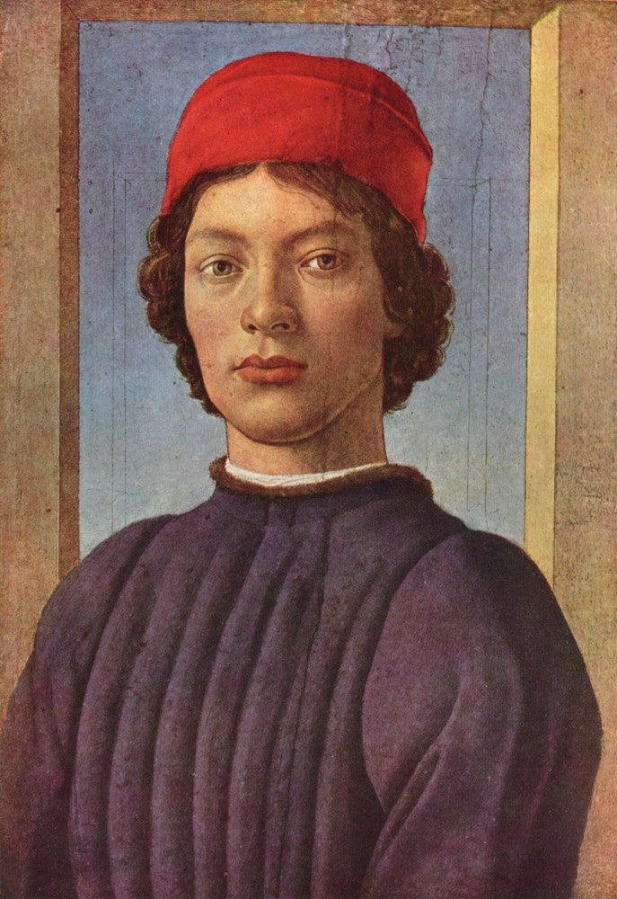 The Museum Outlet - Portrait of a young man with red hat 2 by Botticelli