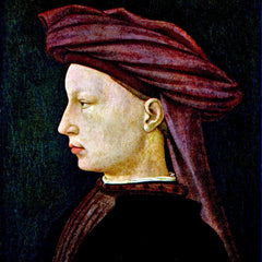 100% Hand Painted Oil on Canvas - Portrait of a youth in profile by Masaccio