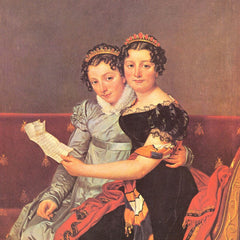 100% Hand Painted Oil on Canvas - Portrait of the daughters of Joseph Bonaparte by Jacques Louis David