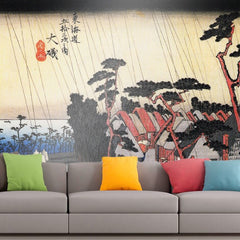 Roshni Arts - Curated Art Wall Mural - Rain on a town by the coast by Hiroshige | Self-Adhesive Vinyl Furnishings Decor Wall Art