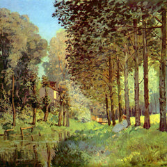 100% Hand Painted Oil on Canvas - Resting on the river bank by Sisley