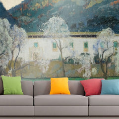 Roshni Arts - Curated Art Wall Mural - Santiago Rusinol - White Farmhouse in Majorca | Self-Adhesive Vinyl Furnishings Decor Wall Art