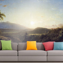 Roshni Arts - Curated Art Wall Mural - Scene in the Andes by Frederick Edwin Church | Self-Adhesive Vinyl Furnishings Decor Wall Art