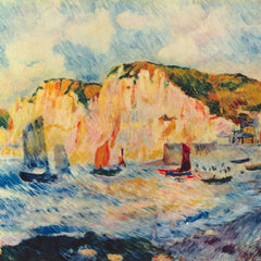 100% Hand Painted Oil on Canvas - Sea and Cliffs by Renoir