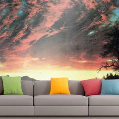 Roshni Arts - Curated Art Wall Mural - Secluded landscape in the sunset by Frederick Edwin Church | Self-Adhesive Vinyl Furnishings Decor Wall Art