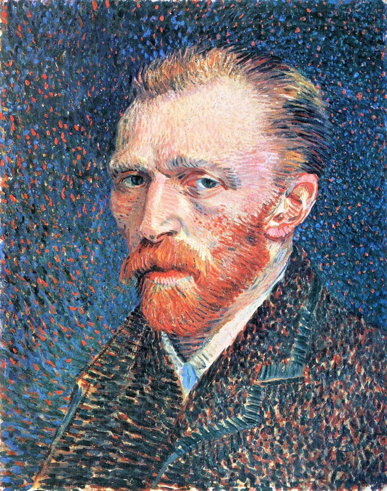 The Museum Outlet - Self-portrait with densely dotted background from right by Van Gogh