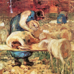 100% Hand Painted Oil on Canvas - Shearing by Giovanni Segantini
