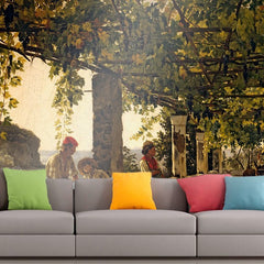 Roshni Arts - Curated Art Wall Mural - Silvestr Shchedrin - A veranda overgrown with grape vines | Self-Adhesive Vinyl Furnishings Decor Wall Art