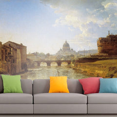 Roshni Arts - Curated Art Wall Mural - Silvestr Shchedrin - New Rome, The Castle of Saint Angelo | Self-Adhesive Vinyl Furnishings Decor Wall Art