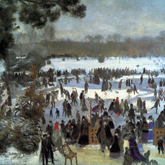 100% Hand Painted Oil on Canvas - Skating runners in the Bois de Bologne by Renoir
