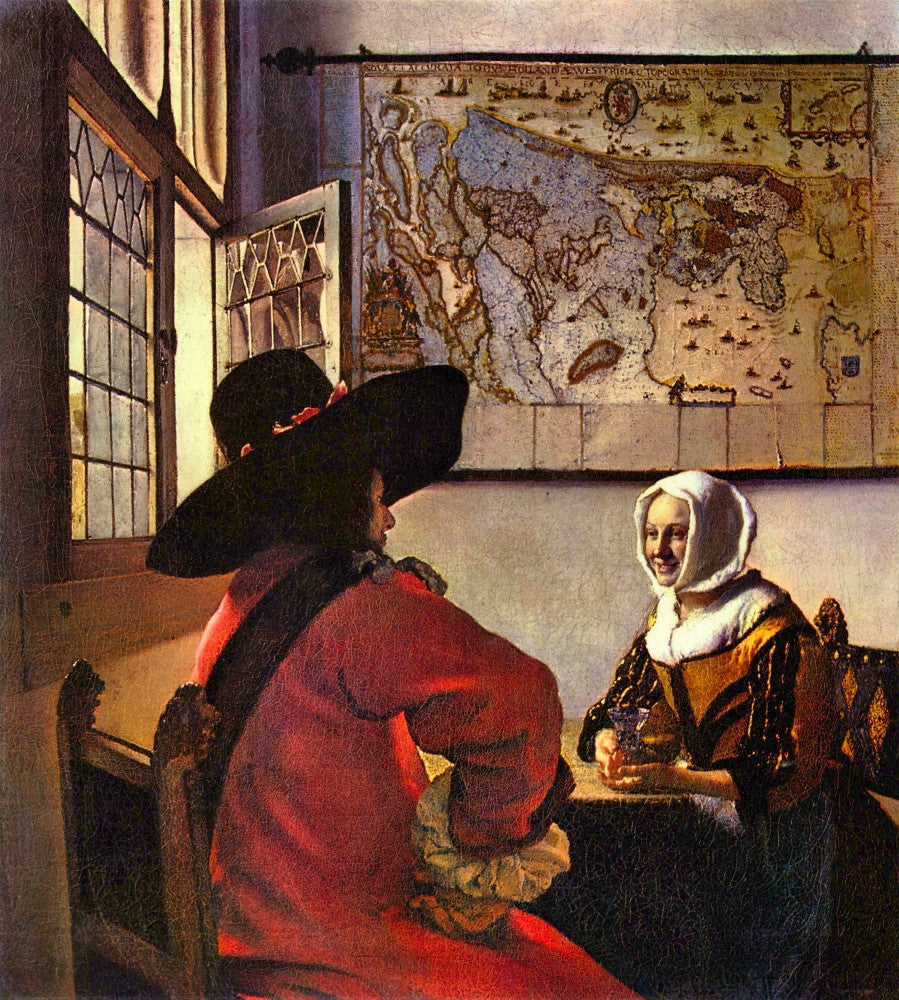 The Museum Outlet - Soldier and girl smiling by Vermeer