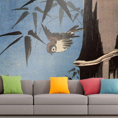 Roshni Arts - Curated Art Wall Mural - Sparrow and bamboo 4 by Hiroshige | Self-Adhesive Vinyl Furnishings Decor Wall Art